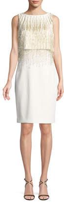 Badgley Mischka Square-Neck Flounce-Sleeve Dress