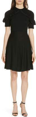 Kate Spade studded ruffle sweater dress