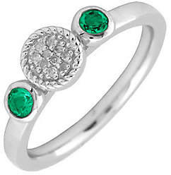 Simply Stacks Sterling & Double Round Emerald D iamond Ring