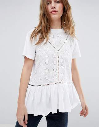 Asos Design Smock T-Shirt With Broderie And Frill Hem