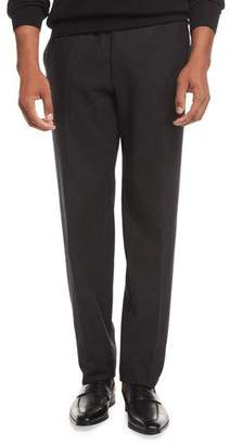 Brioni Wool Flannel Flat-Front Trousers, Gray