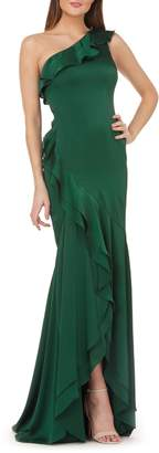 Carmen Marc Valvo One-Shoulder Satin Evening Dress