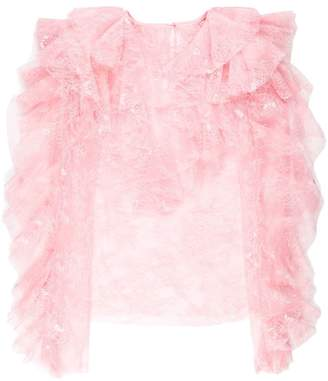 Philosophy di Lorenzo Serafini ruffle lace trim blouse