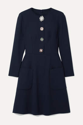 Lela Rose Embellished Wool-blend Crepe Dress - Midnight blue