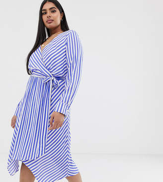 Glamorous Curve wrap front dress with tie waist in diagonal stripe