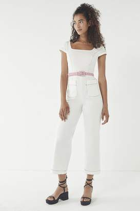 Urban Outfitters Contrast Stitch Square-Neck Jumpsuit
