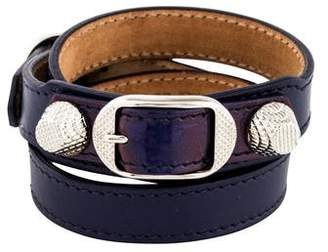 Balenciaga Arena Leather Giant Double Tour Wrap Bracelet