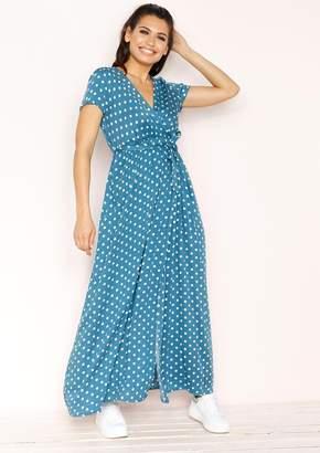 72e96426cc Missy Empire Missyempire Hannah Blue Polkadot Wrap Front Maxi Dress