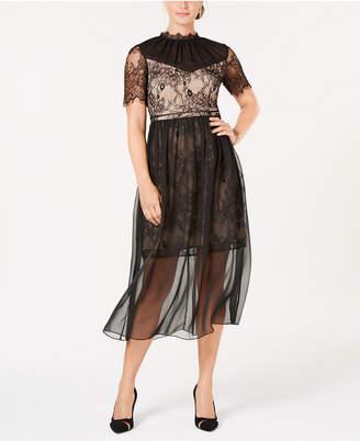 AVEC LES FILLES Aves Les Filles Lace Chiffon Dress