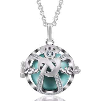 "EUDORA Harmony Ball Necklace 18mm Guardian Angel Cubic-Zirconia CZ Zircon Bola Pendant Christmas Gift 35"" Lavender"