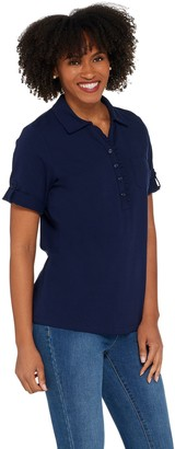 Denim & Co. Essentials Perfect Jersey Polo Top with Ruffle Detail
