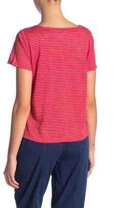 Eileen Fisher Short Sleeve Stripe Knit Tee (Petite)