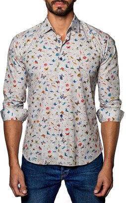 Jared Lang Butterfly-Print Sport Shirt, Tan $92 thestylecure.com