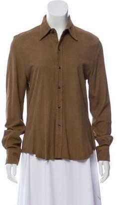 Ralph Lauren Suede Button-Up Top