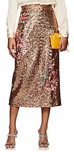 Erdem Women's Sacha Floral-Embellished Sequined Midi-Skirt - Peach