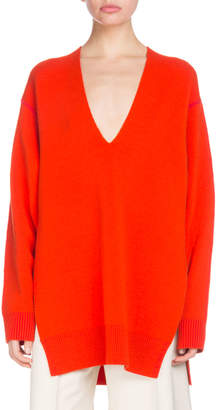 Proenza Schouler V-Neck Long-Sleeve Oversized Wool Silk-Cashmere Tunic Sweater