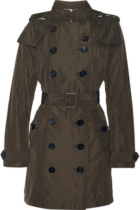Burberry - Balmoral Packaway Hooded Shell Trench Coat - Army green $795 thestylecure.com