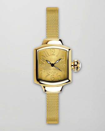 Miami Beach by Glam Rock Small Mesh-Strap Square Watch, Gold