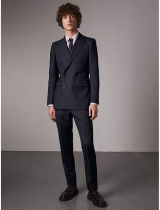 Burberry Slim Fit Double-breasted Herringbone Wool Suit