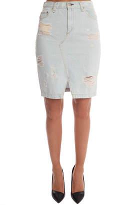Rag & Bone JEAN Denim Skirt Shredded