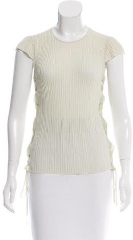 Chanel Knit Lace Up Top