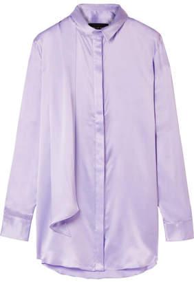 Michael Lo Sordo - Oversized Pussy-bow Silk-satin Shirt - Lilac