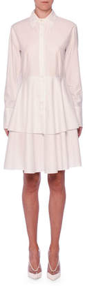 Stella McCartney Tiered-Skirt Long-Sleeve Cotton Shirtdress