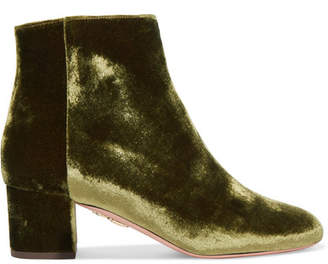 Aquazzura Brooklyn Velvet Ankle Boots - Army green
