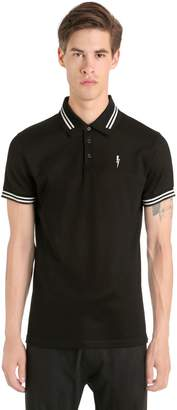 Neil Barrett Printed Bolt Cotton Pique Polo Shirt