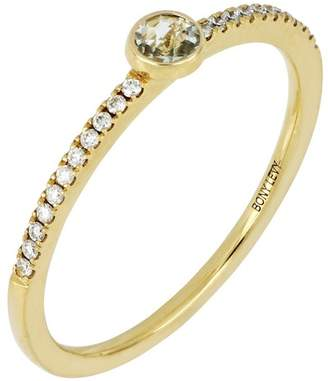 Bony Levy 18K Yellow Gold Diamond & Green Amethyst Stack Ring