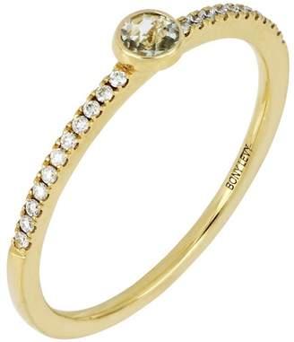 Bony Levy 18K Yellow Gold Diamond & Green Amethyst Stack Ring