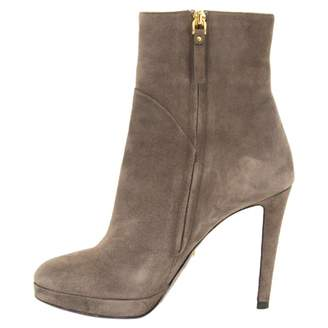 Sergio Rossi Grey Suede Ankle boots