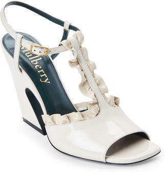 Mulberry Ivory Ruffled Leather Flare Heel Sandals