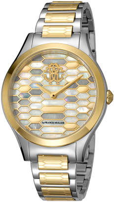 Roberto Cavalli 36mm Scaly Watch w/ Bracelet Strap, Gold/Steel