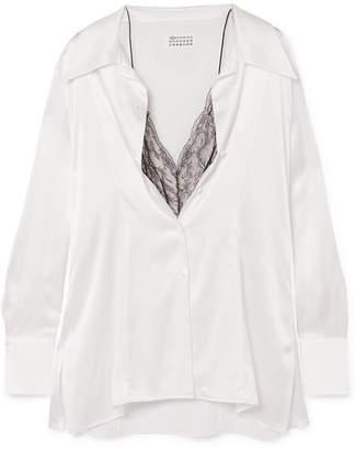 ca1efcd358789e Maison Margiela Lace-trimmed Silk-satin Blouse - White
