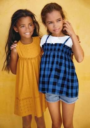 Next Girls Blue Gingham Vest And T-Shirt Set (3-16yrs)