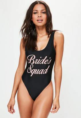 Missguided Black Bridal Squad Swimsuit