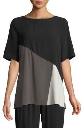 Eileen Fisher Short-Sleeve Colorblock Silk Top