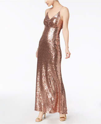 Night Way Nightway Sequined Strappy-Back Gown