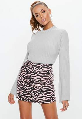 Missguided Gray Fitted Flare Sleeve Cropped Sweater