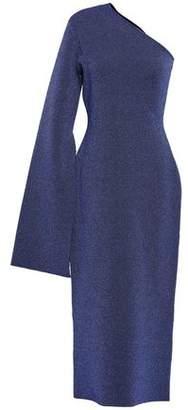 SOLACE London Reuben One-shoulder Metallic Stretch-knit Midi Dress