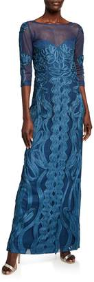 JS Collections Soutache Mesh Column Gown with Illusion Yoke & Sleeves