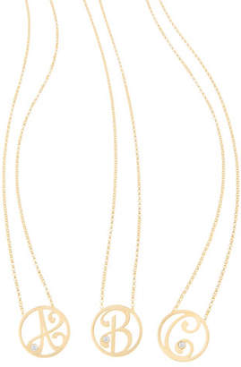 K Kane Mini Single Initial Diamond Necklace, 18""