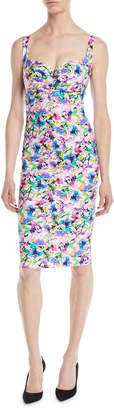 Chiara Boni Ceyda Boned Floral-Print Cocktail Dress