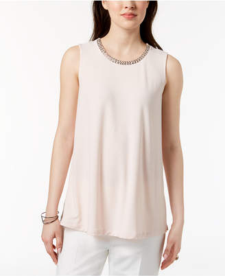Alfani Petite Embellished-Neck Top, Created for Macy's