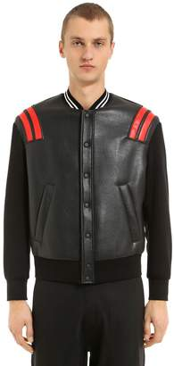 Neil Barrett Patch Leather & Neoprene Bomber Jacket
