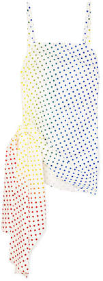 Rosie Assoulin Knotted Polka-dot Flocked Cotton-blend Poplin Camisole - White