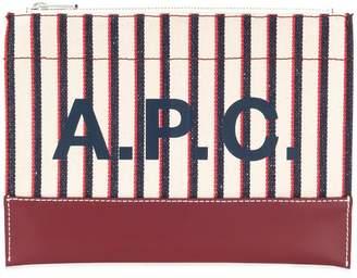A.P.C. striped logo print clutch