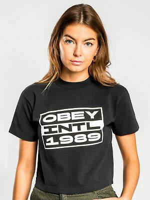 Obey New Womens Intl Advisory T Shirt In Black Tops & T Shirts