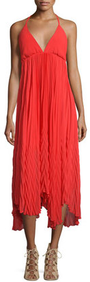Alice + Olivia Adalyn Chiffon Halter Midi Dress, Red $368 thestylecure.com